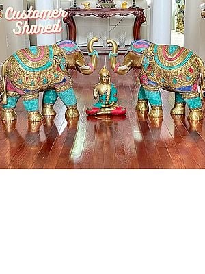 Large Size Superbly Ornamented Elephant Pair