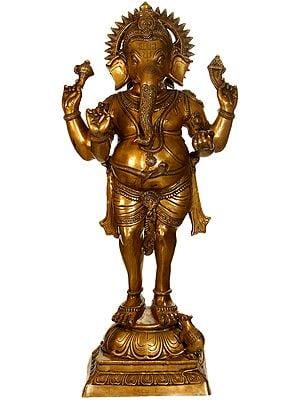 Large Size Standing Ganesha, A Form of Tryakshara Ganapati