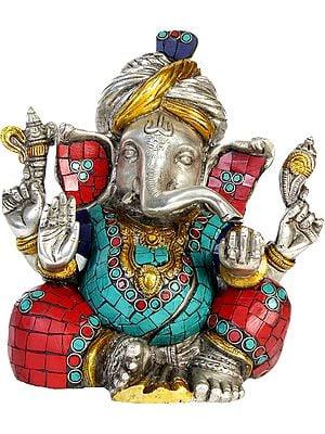 Turbaned Ganesha (with Inlay Work)