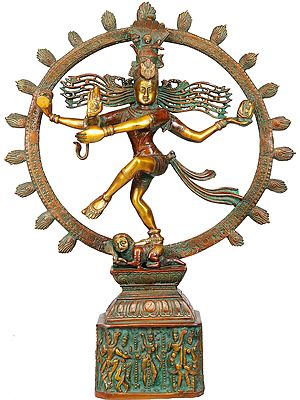 Nataraja (Pedestal Decorated with Dancing Shiva and Parvati)