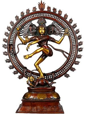 Large Size Nataraja in Golden and Brown Hues