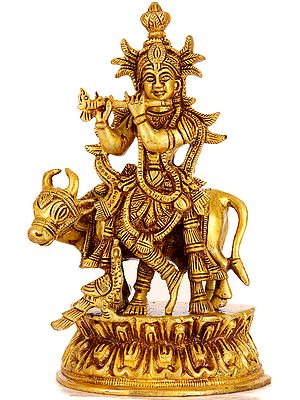 Venugopala with His Cow and Peacock