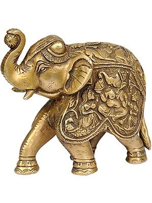 Elephant with  Upraised Trunk - Saddle Carved with the Images of Ganesha with Riddhi and Siddhi