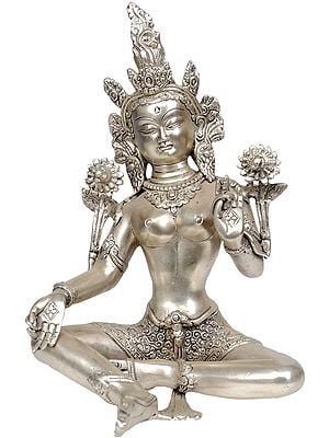 Tibetan Buddhist Goddess Green Tara (In Silver Hue)