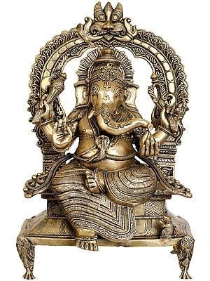 Large Size Majestic Ganesha Enshrining the Throne with Mahakala Arch