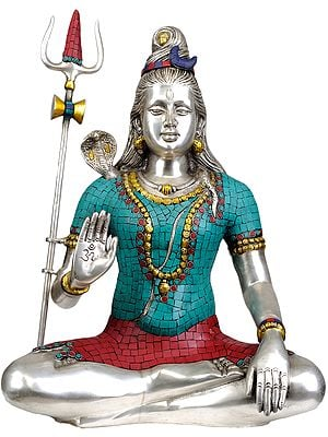 Mahayogi Shiva with OM on His Palm (Inlay Statue)