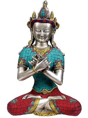 Tibetan Buddhist Deity- Primordial Buddha Vajradhara in Vajra-Humkara Mudra (Inlay Statue)