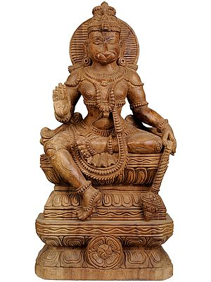 Lord Hanuman Seated on Lotus Throne