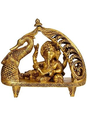 Lord Ganesha in a Swan Chariot