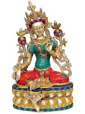 Saviour Goddess Green Tara (Inlay Statue Tibetan Buddhist Deity)
