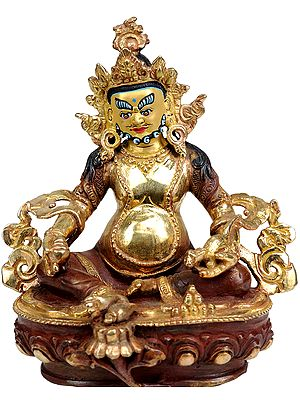 Tibetan Buddhist Deity Kubera with Jewel and Nakula (Mongoose)