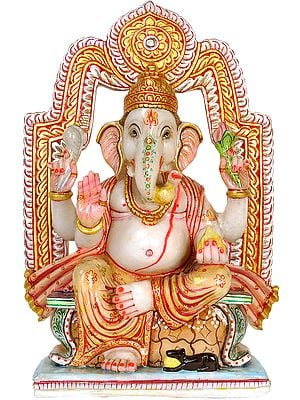 Lalitasana Ganesha Granting Abhaya (Antiquated Statue)