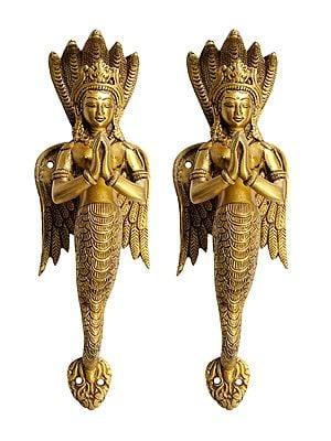 A Pair of Naga-Kanya Door Handles - An Auspicious and Protective Welcome