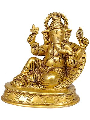 Lord Ganesha Seated in Easy Posture on a Couch