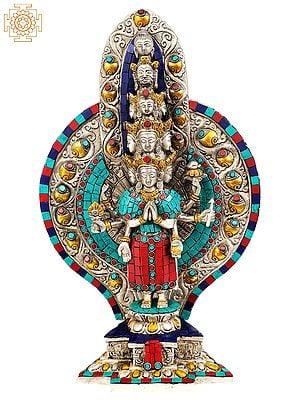 Eleven-Headed and Thousand-Armed Avalokiteshvara (Inlay Tibetan Buddhist Statue)