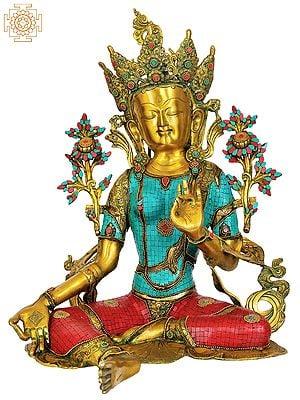 Large Size Saviour Goddess Green Tara (Inlay Tibetan Buddhist Statue)