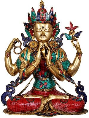 Large Size Shadakshari Lokeshvara (Inlay Tibetan Buddhist Statue)