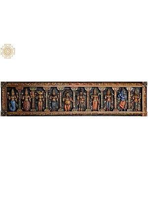 Dashavatara Panel of Bhagawana Vishnu  (From the Left - Matshya, Kurma, Varaha, Narasimha, Vaman, Parashurama, Rama, Balarama, Krishna and Kalki)