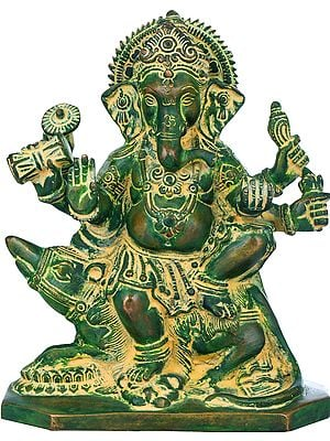 Six-Armed Ganesha Seated on Rat with Leg on a Lion Head