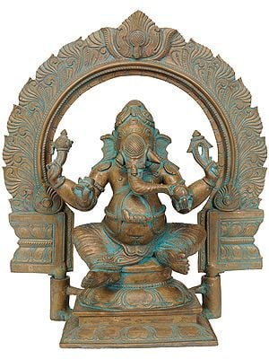 Four-Armed Seated Ganesha with Floral Aureole