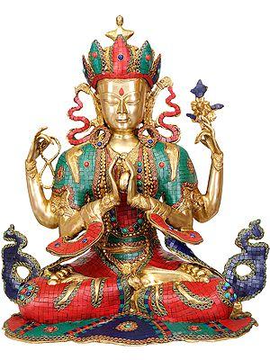 Tibetan Buddhist Deity- Chenrezig (Shadakshari Lokeshvara) Inlay Statue