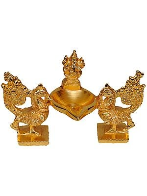 Lord Ganesha Lamp with Peacock Pair