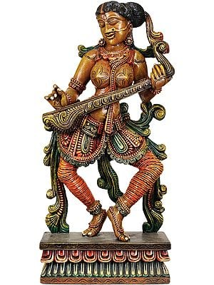 The Solitary Apsara Strumming Her Veena