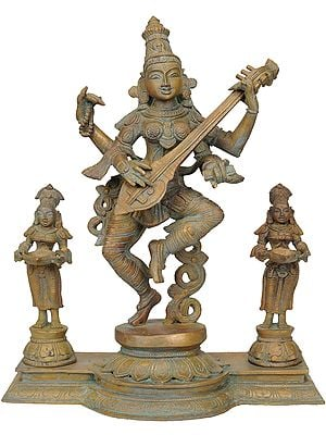 Dancing Saraswati with Subordinate Two Goddesses in Attendance
