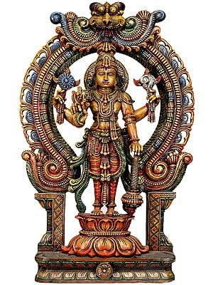 Large Size Temple Wood-Carving Representing Four-Armed Vishnu
