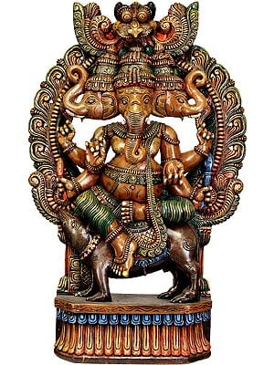 Large Size Tri-Mukha Ganesha Seated on Rat