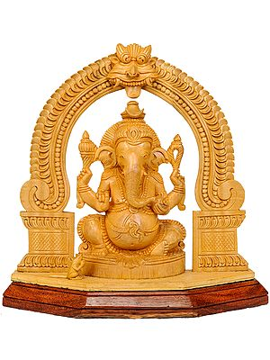 Seated Lord Ganesha with Floral Aureole