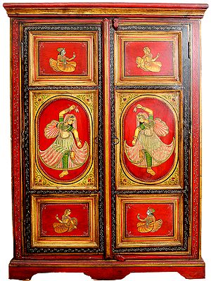Decorative Cupboard With Romantic Figure Paintings