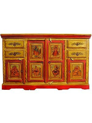 Large Size Cupboard and Drawers  Decorated with the Figures Shiva-Parvati, Ganesha with Musicians
