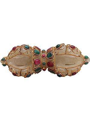 Tibetan Buddhist Crystal Five-pronged Dorje with Gems