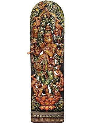 Fluting Krishna with Floral Aureole