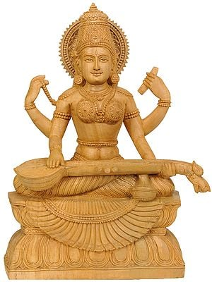 Seated Goddess Saraswati with Veena
