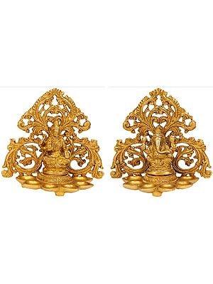 Lakshmi Ganesha (Pair of Lamps)