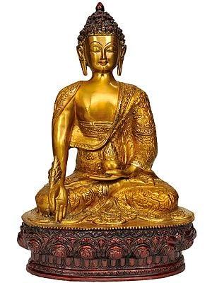 Tibetan Buddhist Deity Medicine Buddha and Beautiful Carved Robe