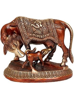 Cow and Calf (Saddle Decorated with Om)