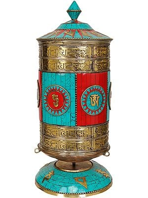 Tibetan Buddhist Prayer Wheel with Inlay