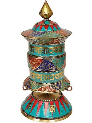 Tibetan Buddhist Om Mani Padme Hum Prayer Wheel