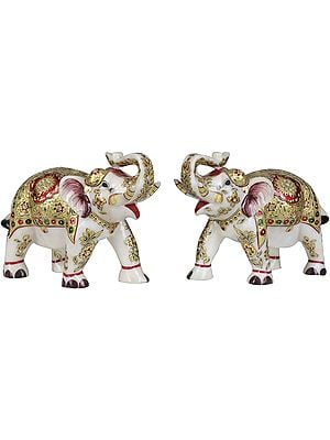 Decorated Elephants Pair with Upraised Trunks (Supremely Auspicious According to Vastu)