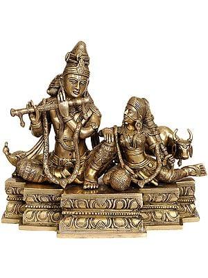 Fluting Krishna With Radha Ji and Cow