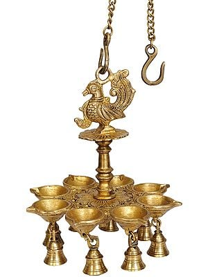 Eight-Wick Mayur Hanging Lamp with Bells