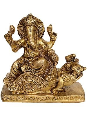 Lord Ganesha Riding on Mouse Chariot