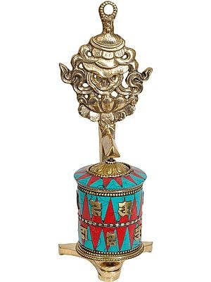 Tibetan Buddhist Prayer Wheel with Victory Banner (Ashtamangala)