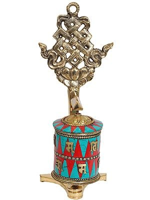 Tibetan Buddhist Prayer Wheel With Eternity Knot (Ashtamangala)