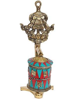 Tibetan Buddhist Prayer Wheel With Umbrella (Ashtamangala)