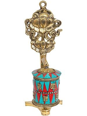 Tibetan Buddhist Prayer Wheel with Lotus (Ashtamangala)