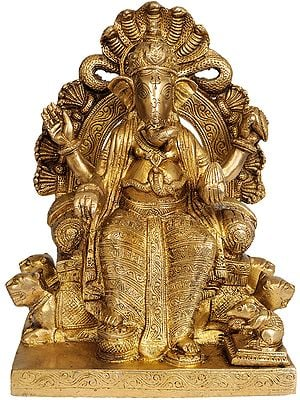Lord Ganesha Seated on Throne Made by Lions and Serpents